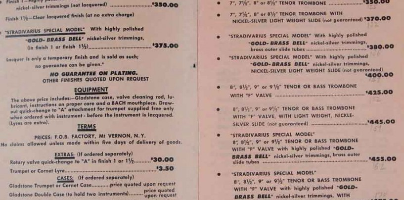 Bach Trumpets – Price List (1935)