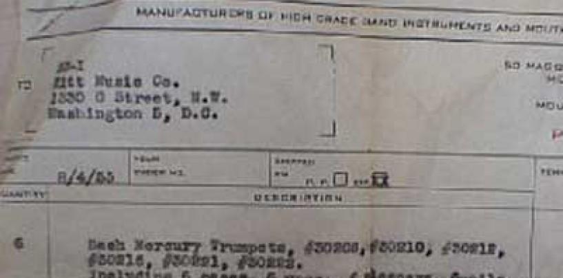 Vincent Bach – Invoice (1955)